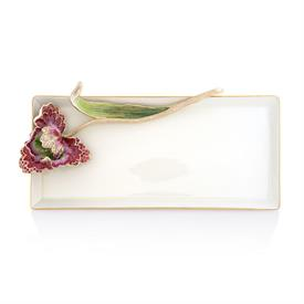 "-,CALISTA TULIP TRAY. 14K GOLD FINISHED PEWTER HAND ENAMELED & SET WITH SWAROVSKI CRYSTALS ON A PORCELAIN TRAY. 12.25"" LONG, 6.25"" WIDE"