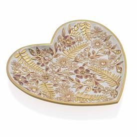 "-,ARIA 'BLUSH' FLORAL HEART TRINKET TRAY. 18K GOLD FINISHED HAND ENAMELED & SET WITH SWAROVSKI CRYSTALS. 5.5"" LONG, 4.75"" WIDE, .75"" DEEP"