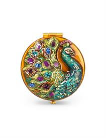 "-,TRENT PEACOCK COMPACT. 2.5"". 18K GOLD PLATE OVER STEEL WITH HAND ENAMELING AND HAND-SET SWAROVSKI CRYSTALS."