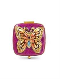 """-BELLA BUTTERFLY COMPACT IN FLORA. 2"""". 18K GOLD PLATE OVER STEEL WITH HAND ENAMELING AND HAND-SET SWAROVSKI CRYSTALS."""