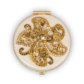 "-,ELIZABETH IVORY FLOWER JEWELED COMPACT. HAND ENAMELED & SET WITH SWAROVSKI CRYSTALS. 2.5"" WIDE"