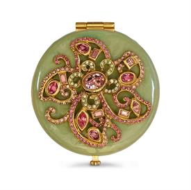 "-,ELIZABETH JADE FLOWER JEWELED COMPACT. HAND ENAMELED & SET WITH SWAROVSKI CRYSTALS. 2.5"" WIDE"