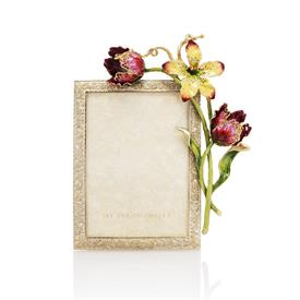 "-,MARGERY FLORA & FAUNA 5X7"" TULIP FRAME. 14K GOLD FINISHED PEWTER HAND ENAMELED & SET WITH SWAROVSKI CRYSTALS. MADE IN RHODE ISLAND"