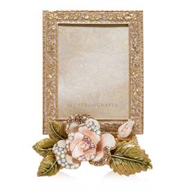 "-,BELLE ROSE 3X4"" FRAME. HAND ENAMELED AND SET WITH SWAROVSKI CRYSTALS"