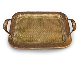 "-,ABBOTT RATTAN METAL TRAY IN AMBER. HAND ENAMELED AND HAND SET WITH SWAROVSKI CRYSTALS. 24"" X 16""."