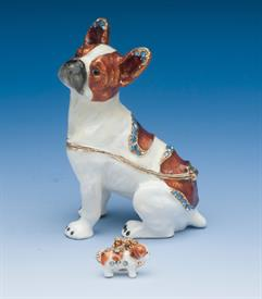 ",_FRENCH BULLDOG IN BROWN AND WHITE WITH BLUE RHINESTONES AND MATCHING NECKLACE. 3.2"" TALL."