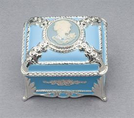 ,_SMALL BLUE RECTANGLE ENAMEL CAMEO BOX WITH SWAROVSKI CRYSTALS. PLAYS BOLERO BY RAVEL