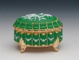 -:GREEN ENAMEL ROSE OVAL SHAPED MUSIC BOX. PLAYS WALTZ OF THE FLOWERS BY TCHAIKOVSKY