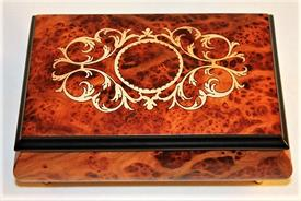 -,MAHOGANY INLAID WOOD MUSIC BOX/JEWELRY BOX. PLAYS BACH'S MINUET NO. 1