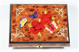 -,INLAID WOOD BUTTERFLIES MUSIC BOX/JEWELRY BOX. PLAYS 'FUR ELISE'