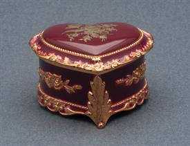 -SMALL PINK AND GOLD ROSE HEART SHAPED MUSIC BOX. PLAYS SOMEWHERE OUT THERE BY JAMES HORNER
