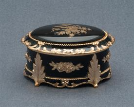 -,SMALL BLACK AND GOLD ROSE OVAL SHAPED MUSIC BOX. PLAYS CANDLE IN THE WIND BY ELTON JOHN
