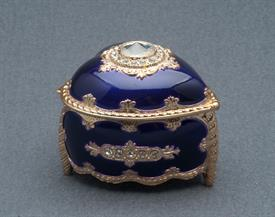 -SMALL PURPLE AND GOLD HEART SHAPED MUSIC BOX WITH SWAROVSKI CRYSTALS. PLAYS MEMORY BY ANDREW LLOYD WEBBER
