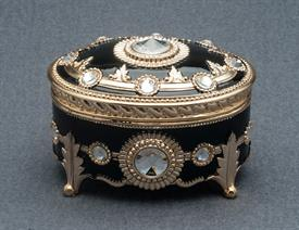 -,BLACK AND GOLD OVAL ENAMEL MUSIC BOX WITH SWAROVSKI CRYSTALS. PLAYS CANDLE IN THE WIND BY ELTON JOHN
