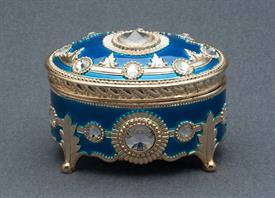 -BLUE AND GOLD OVAL ENAMEL MUSIC BOX WITH SWAROVSKI CRYSTALS. PLAYS MEMORY BY ANDREW LLOYD WEBBER