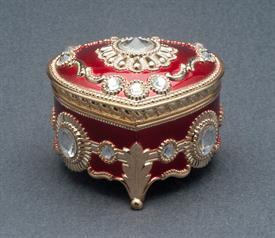 -,RED AND GOLD HEART ENAMEL MUSIC BOX WITH SWAROVSKI CRYSTALS. PLAYS ALL I ASK OF YOU BY ANDREW LLOYD WEBBER