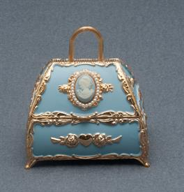 -,LIGHT BLUE PURSE WITH CAMEO AND PEARLS MUSIC BOX. PLAYS THE MUSIC OF THE NIGHT BY ANDREW LLOYD WEBBER