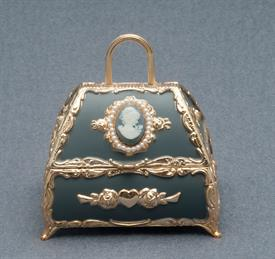 -GRAY PURSE WITH CAMEO AND PEARLS MUSIC BOX. PLAYS MEMORY BY ANDREW LLOYD WEBBER