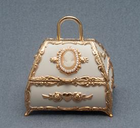 -,IVORY PURSE WITH CAMEO AND PEARLS MUSIC BOX. PLAYS ALL I ASK OF YOU BY ANDREW LLOYD WEBBER