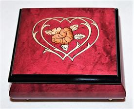 -,RED HEART & FLOWER SQUARE INLAID WOOD MUSIC BOX. PLAYS 'SOMEWHERE IN TIME'