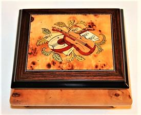 -,LUTE & VIOLIN SQUARE INLAID WOOD MUSIC BOX. PLAYS 'THE SPRING, LA PRIMAVERA OP.8, NO. 1'