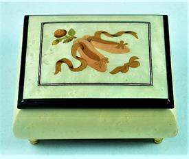 -,WHITE BALLET SLIPPERS INLAID WOOD MUSIC BOX. PLAYS 'DANCE OF THE SUGAR PLUM FAIRY' FROM 'THE NUTCRACKER'