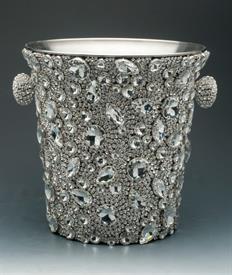 ",-MONACO CHAMPAGNE BUCKET. HANDMADE IN CALIFORNIA WITH PRONG SET CRYSTALS. THIS COOLER IS INSULATED TO KEEP YOUR CHAMPAGNE COOL. 8.25""Hx9""D"