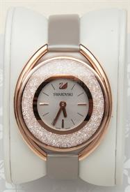 -CRYSTALLINE OVAL ROSE GOLD TONE WATCH