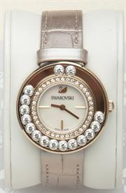 -LOVELY CRYSTALS LIGHT GOLD TONE WATCH