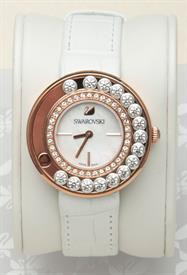 -LOVELY CRYSTALS WHITE ROSE GOLD TONE WATCH