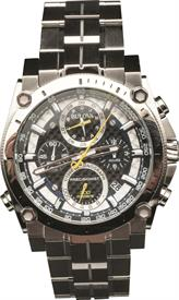 -MEN'S SILVER TONE PRECISIONIST CHRONOGRAPH WATCH CASE DIAMETER:46.5MM CASE THICKNESS:17.89MM WATER RESISTANCE:300M