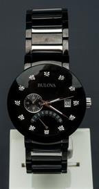 -MEN'S BLACK DIAMOND QUARTZ WATCH CASE DIAMETER:40MM CASE THICKNESS:11MM WATER RESISTANCE:30M