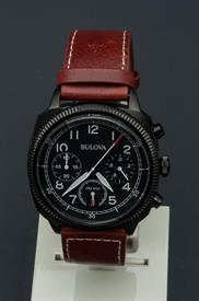 -MEN'S BLACK WATCH WITH BROWN BAND