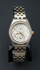 -SILVER AND YELLOW GOLD TONE LADIES WATCH WITH WHITE DIAL AND CRYSTALS