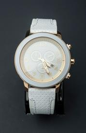 -WHITE AND YELLOW GOLD TONE ECO-DRIVE WATCH