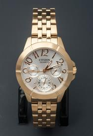 -YELLOW GOLD TONE LADIES QUARTZ BRACELET WATCH