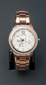 -ROSE GOLD TONE LADIES BRACELET WATCH WITH WHITE DIAL AND CRYSTALS