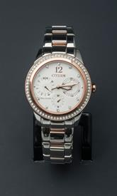 -SILVER AND ROSE GOLD TONE LADIES BRACELET WATCH WITH WHITE DIAL