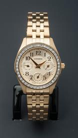 -YELLOW GOLD TONE LADIES BRACELET WATCH WITH GOLD TONE DIAL