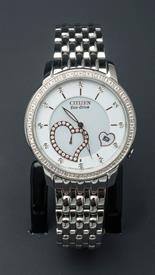 -SILVER TONE LADIES ECO-DRIVE WATCH WITH ROSE GOLD TONE HEART