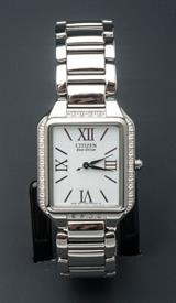-SILVER TONE LADIES SQUARE ECO-DRIVE BRACELET WATCH WITH WHITE DIAL