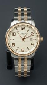 -SILVER AND YELLOW GOLD TONE MEN'S QUARTZ WATCH