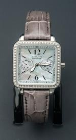 -SILVER TONE LADIES SQUARE ECO-DRIVE WATCH WITH GREY BAND