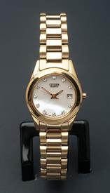 -YELLOW GOLD TONE LADIES QUARTZ BRACELET WATCH WITH WHITE DIAL