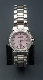 -SILVER TONE LADIES ECO-DRIVE BRACELET WATCH WITH PINK DIAL