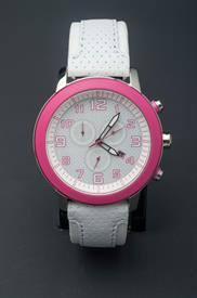 -WHITE AND PINK LADIES ECO-DRIVE WATCH