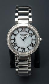 -SILVER TONE LADIES ECO-DRIVE WHATCH WITH WHITE DIAL
