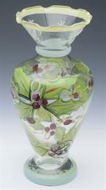 "6.5"" HOLLY & BERRY BUD VASE. HAND PAINTED GLASS WITH BEAUTIFUL SNOWFLAKE ACCENTS AROUND TOP"