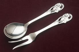 "SALAD SET MADE IN DENMARK SILVER PLATED 9"" LONG"
