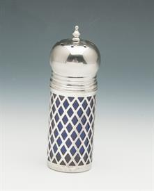 "SILVER PLATED SUGAR SHAKER WITH COBALT BLUE GLASS INSERT 4.5"" LONG"